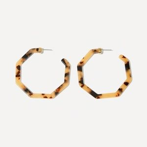 Acrylic Tortoise Shell Hoop Gold Earrings